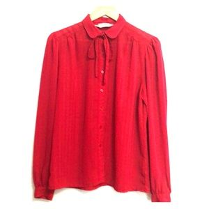 Vintage '70s Red Pin Stripe Secretary Blouse